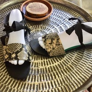 Zara Sandals ribbon tie snake skin look Sz 10